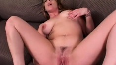 Sexy MILF with giant natural titties gives a balls deep blowjob
