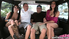 Rachel and Kitty find another couple of dudes to fuck in the bus