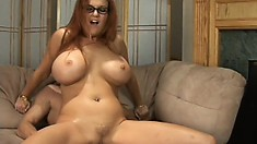 Redhead cougar with big hooters Kitty Lox is desperate to get fucked