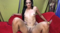 Exotic Indian beauty with impeccable body doing a reverse cowgirl ride