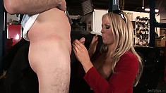 Hot blonde MILF finds the perfect way to pay the mechanic with a handjob