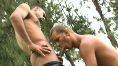 Dirty young soldiers enjoy some hard assfucking in outdoor scene
