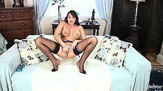 Sasha looks absolutely stunning in her kinky black stockings