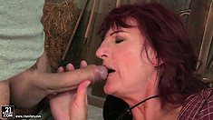 Extremely long cock rubs hairy pubis of old hoe and fucks her vagina