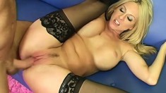 Terrific panther in black stockings fucks those who wants promotion
