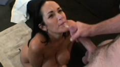 Huge breasted pornstar Carmella Bing offers her man a sensual blowjob