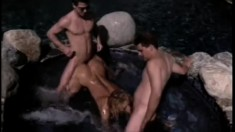 Beautiful outside pool setting for a wild orgy of hot humping and sucking
