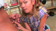 Barely legal Asian cutie gets pounded by two hung white guys