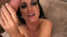 Slutty brunette takes her man's hard dick in her holes and his juices in her mouth