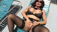 Voluptuous redhead cougar has a huge black rod fucking her pussy likes she desires