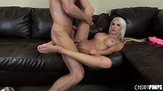 From sucking to fucking and a tit job, Holly Price gives it her all