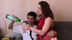 Young lovers Linda and Nick drink martini and then enjoy steamy sex