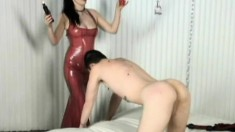 Sexy Mistress Anastasia Pierce Wears Latex And He Has To Suck Her Toes