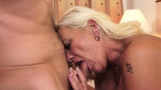Old blonde granny gives and gets head before he plows her ripe twat