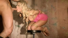 Mesmerizing blonde beauty gets blindfolded, tied up and pounded hard