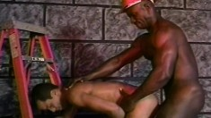 Hot white boy has a black construction worker hammering his tight ass