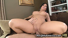 After riding his cock Kendra Secrets gets fucked from behind