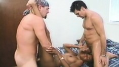 Damien Michaels and Brian Surewood roughly fucking a sultry ebony girl