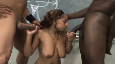Phat ass ebony gets a lesson on how two dudes can fuck her up
