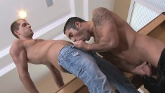Two exciting gay studs engage in hardcore anal sex on the pool table