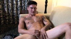 Stunning tattooed boy Allan strokes his pole until he finds pleasure