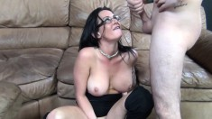 Busty MILF Tory Lane licks his nuts, uses a vibrator while fucking to get off