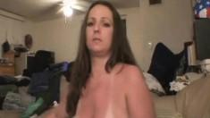 Sensuous brunette escort flaunts her big boobs and pleases a long rod