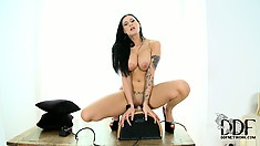 Stacked babe with a sexy ass jumps on top of the sybian eager to satisfy her needs