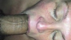 Big titted brunette mature jerks cock