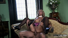 Stunning blonde milf with big tits sucks and rides a big cock with pure passion