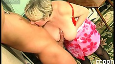 Busty old lady gets her chubby cunt plowed by her young sex slave