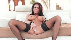 Seductively Undressing, This Stunning Brunette Shows A Body Made In Heaven