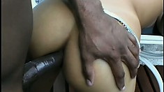 Slender ebony babe Larissa Dy Monaco has a huge black prick stretching her holes