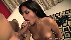 Latina Jasmine Blaze with her bald cunt blows and then gets hammered