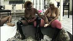 Chocolate eye candies play with each other's wet slits in a lesbian foursome