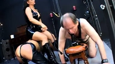 Femdom hoes try some lezdom with latex