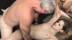 Gorgeous young blonde has two horny old guys sharing her tight pussy