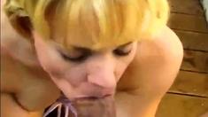 Kortnee licks and sucks a big fat cock!