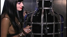 Mistress can do whatever she likes to her naughty latex slaves
