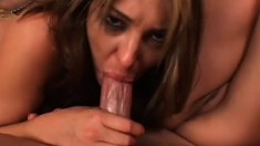 Joey Valentine and Lexi Bardot share a big cock in their holes and swap cum