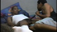 He sneaks up on his napping roomie and sucks his big black dick