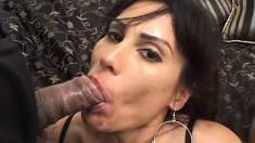 Lusty MILF takes two big dicks balls deep in both of her holes