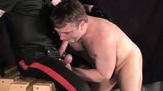 Kinky male slut Florian loves to run his tongue over stiff cocks