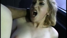 Desirable blonde with big tits gets nailed hard in the back of the van